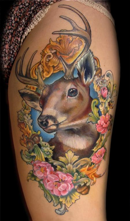 Tattoos - Deer in floral frame tattoo - 125178