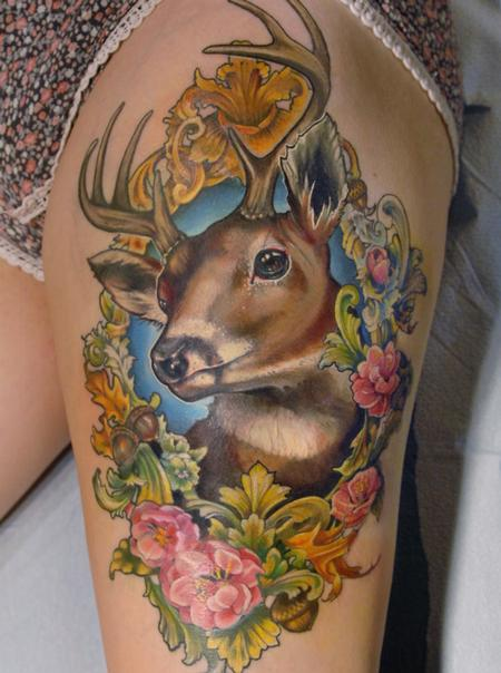 Tattoos - Deer in floral victorian frame tattoo - 130899