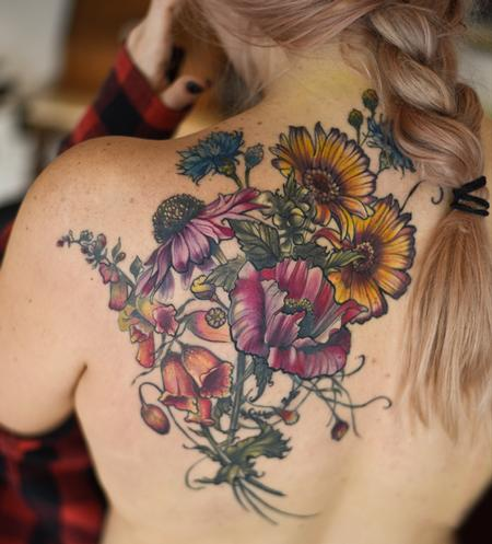 Tattoos - echinacea foxgloves poppy botanical flower tattoo - 131963