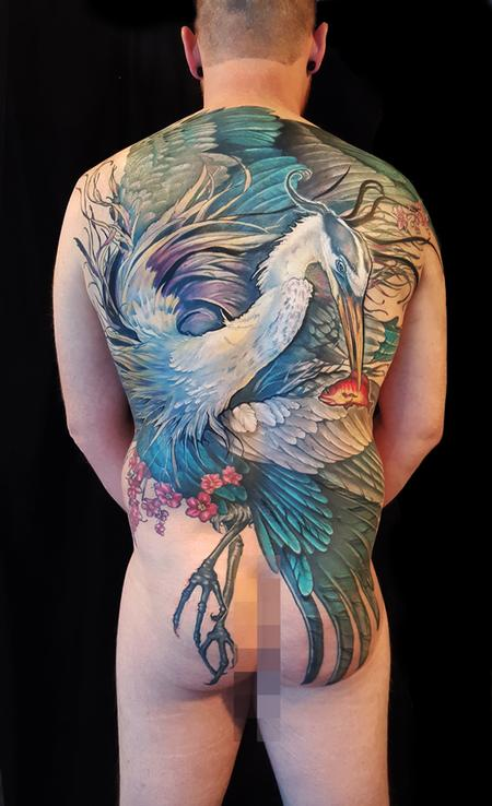 Aubrey Mennella - great blue heron back piece tattoo