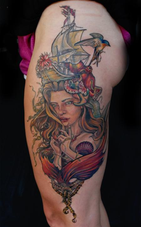 Aubrey Mennella - nautical mermaid tattoo