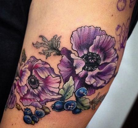 Tattoos - purple flower blueberry tattoo - 131948
