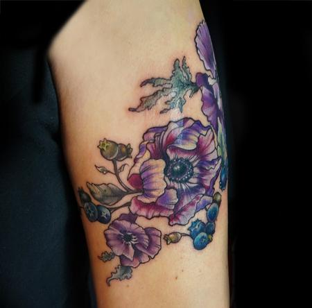 Tattoos - vintage anemone flower and blueberries tattoo - 123344