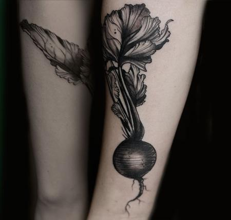 Aubrey Mennella - radish vintage vegetable tattoo