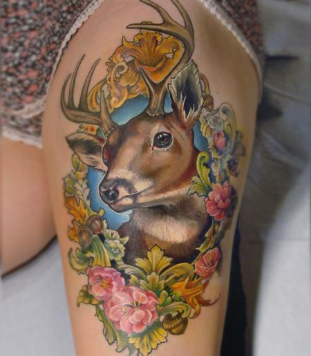 Tattoos - victorian picture frame deer tattoo - 131968