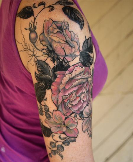 Aubrey Mennella - vintage botanical rose flower tattoo