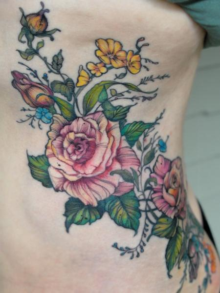Tattoos - vintage rose flower rib tattoo - 131949