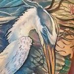 Blue Heron & Red Snapper tattoo Tattoo Design Thumbnail