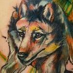 watercolor wolf tattoo Tattoo Design Thumbnail