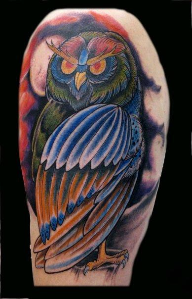 Danny Warner - Color Owl Tattoo