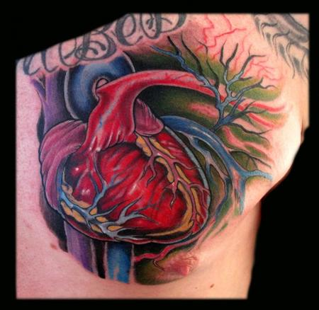 Danny Warner - Anatomical Heart Tattoo