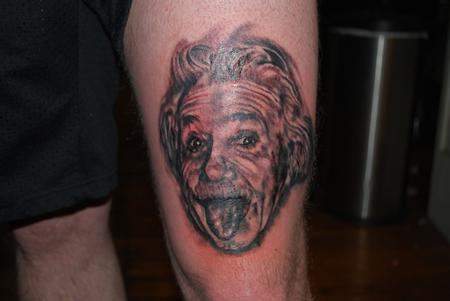 Frank Mcmanus - Black and Grey Albert Einstein Portrait Tattoo