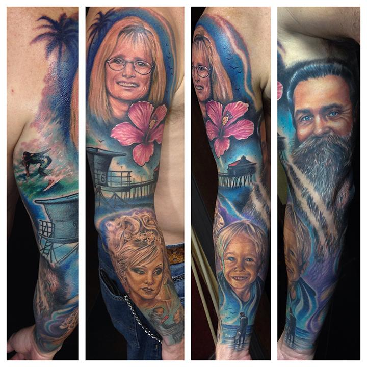 family tribute sleeve by london reese tattoonow. Black Bedroom Furniture Sets. Home Design Ideas