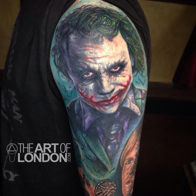 The joker heath ledger color portrait tattoo by london for Joker batman tattoo