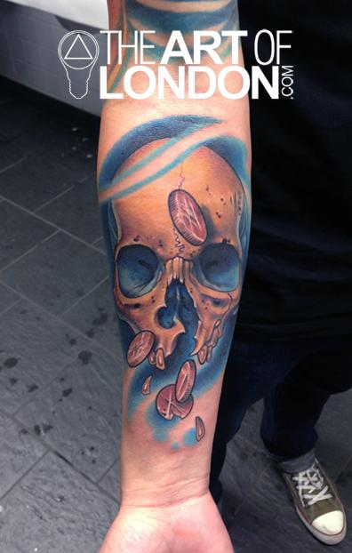 Pirate skull and treasure coins by london reese tattoonow for Color skull tattoos