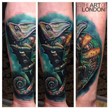 Tattoos - Chameleon Color Realism Tattoo - 92192