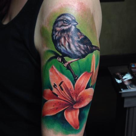 Bird and Flower Tatto Tattoo Design Thumbnail