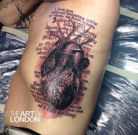 Realistic Anatomical Heart and Text Tattoo Design Thumbnail