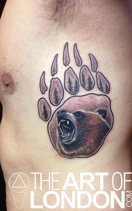 London Reese - Grizzly Bear Paw Print Tattoo