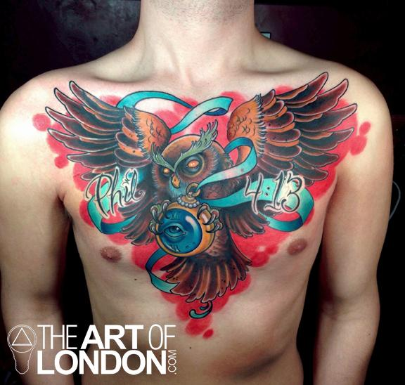 Owl Chest Piece by London Reese: TattooNOW