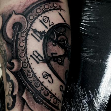 George Muecke - clock time piece tattoo