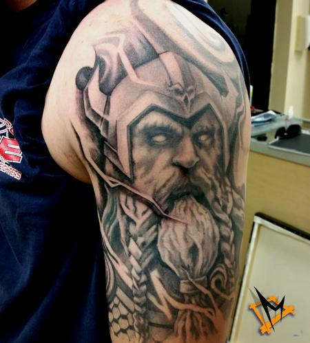 George Muecke - viking warrior tattoo black and grey