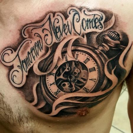 George Muecke - time tattoo clock pocket watch tommorow never comes until the next day