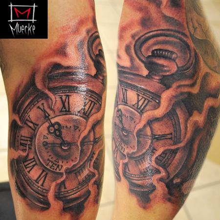 Tattoos - Muecke Timepiece Clock Tattoo  - 86768