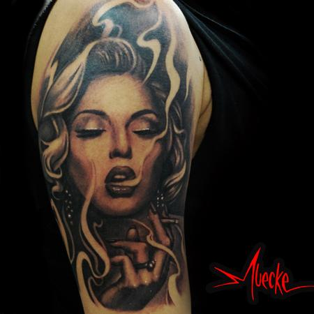 smoking girl portrait tattoo by george muecke tattoos. Black Bedroom Furniture Sets. Home Design Ideas