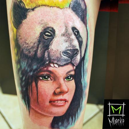 Muecke Tattoo portrait panda girl color portrait tattoo muecke  Tattoo Design Thumbnail