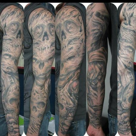 Tattoos - Black and grey skull sleeve - 106265