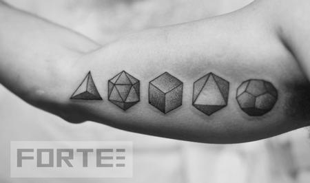Five platonic solids Tattoo Design
