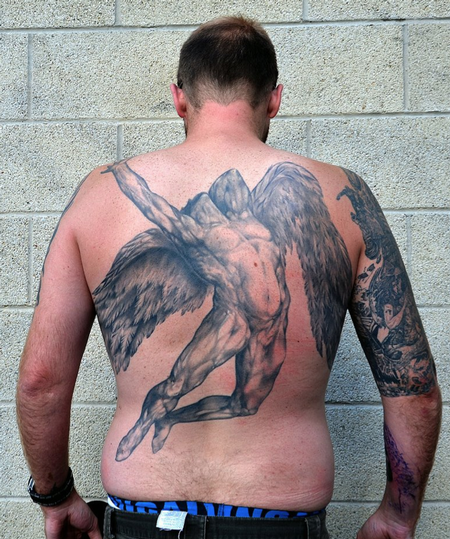 Martin 39 s back piece william rimmer 39 s evening fall of day for Tattoo shops in aurora