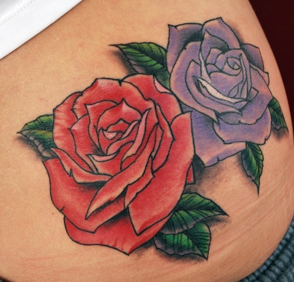 Tattoos - Red and Purple Roses tattoo - 51065