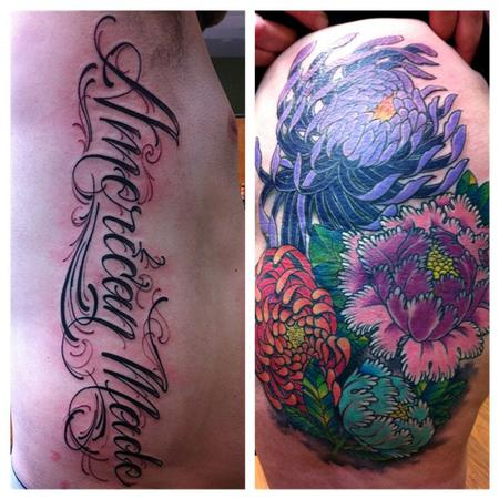 Tattoos - Flowers and script tattoo - 65226