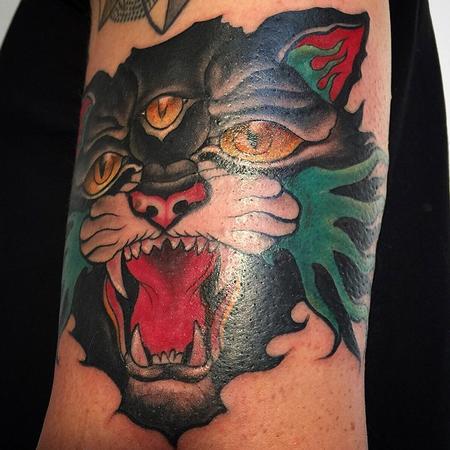 Tattoos - Traditional stylized three eyed Cat - 104213