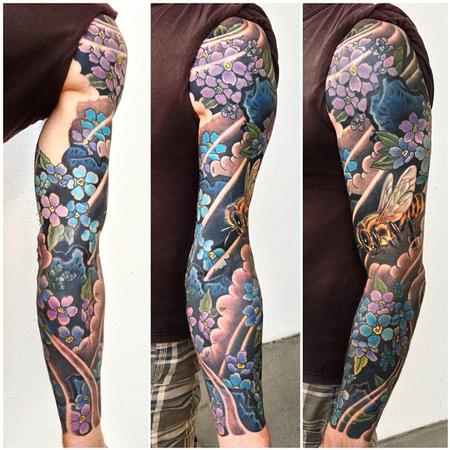 Tattoos - Bee and blue flowers sleeve - 77954