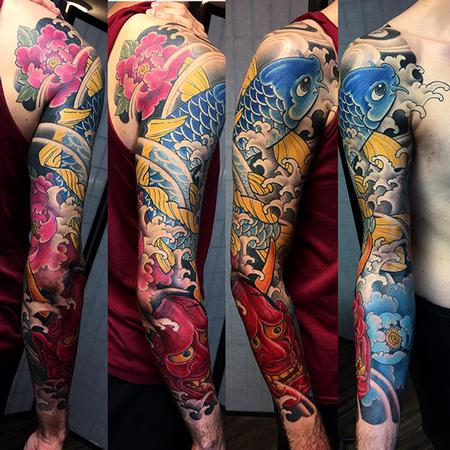 Tattoos - Blue Koi And Hannya - 130306