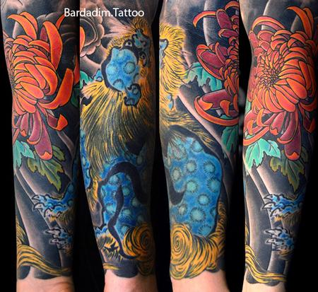 Tattoos - Shi Shi Lion and Chrysanthemum Flower - 132627