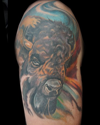 Buffalo Head Tattoo http://gophoto.us/key/buffalo%20head%20tattoos
