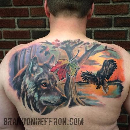 Eagle, Wolf & nature piece Tattoo Design