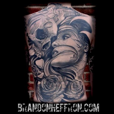 Life & Death back piece Tattoo Design Thumbnail