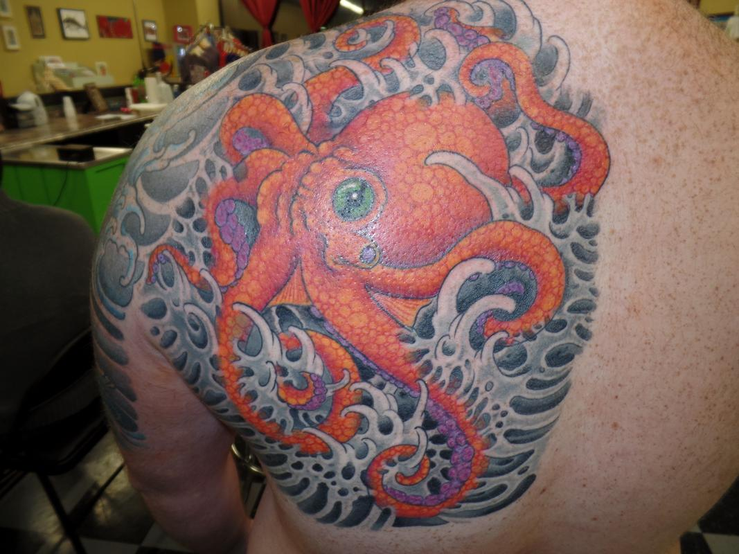 Octopus by ben rusher tattoos for Twisted tattoo chicago
