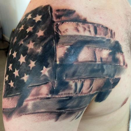 Tattoos - American Flag Black and Grey tattoo  - 94155