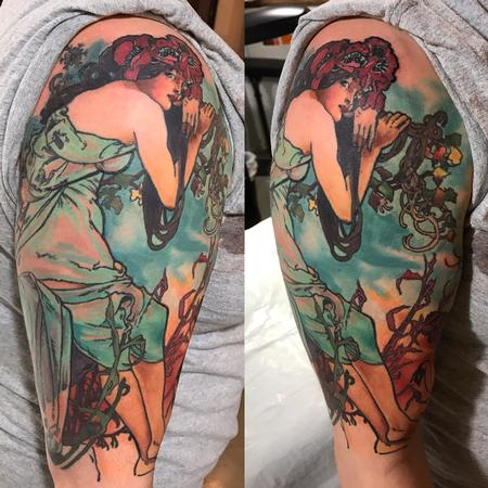 Tattoos - Alphonse Mucha Reproduction Tattoo - 123663