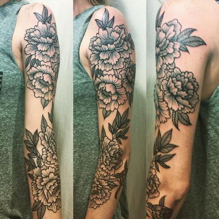 Tattoos - Blackwork Peony Floral Sleeve - 111796