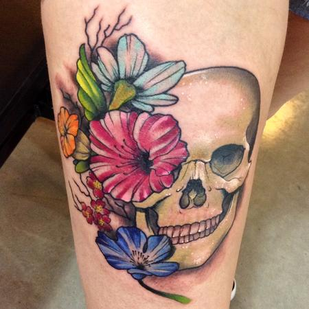 Tattoos - Human Skull with flowers tattoo  - 94157