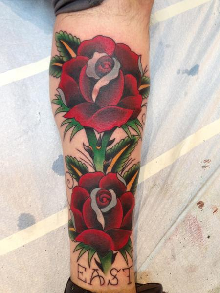 Tattoos - Traditional Freehand Roses - 93644