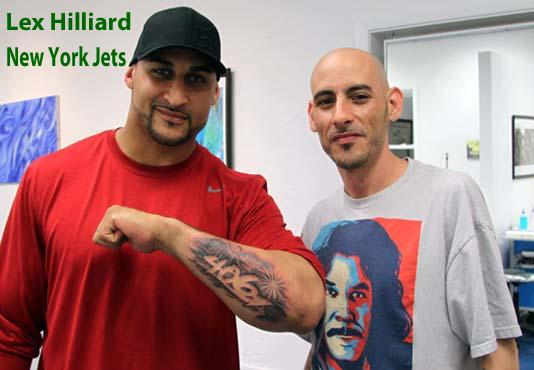 Lex Hilliard of the NY Jets tattooed by Adam Ray