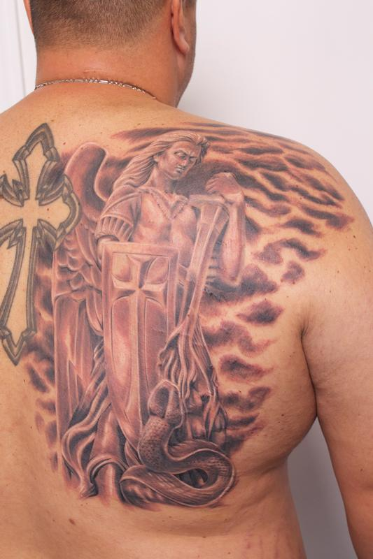 Tattoos - Guardian Angel Saint Michael Tattoo by Rob Talo - 80620